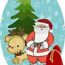 Santa with Rudolf by Ann12art