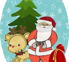 Santa with Rudolf by Ann12art