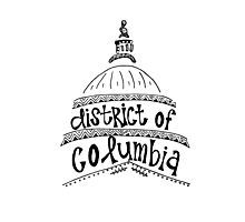 Hipster District of Columbia Outline Photographic Print