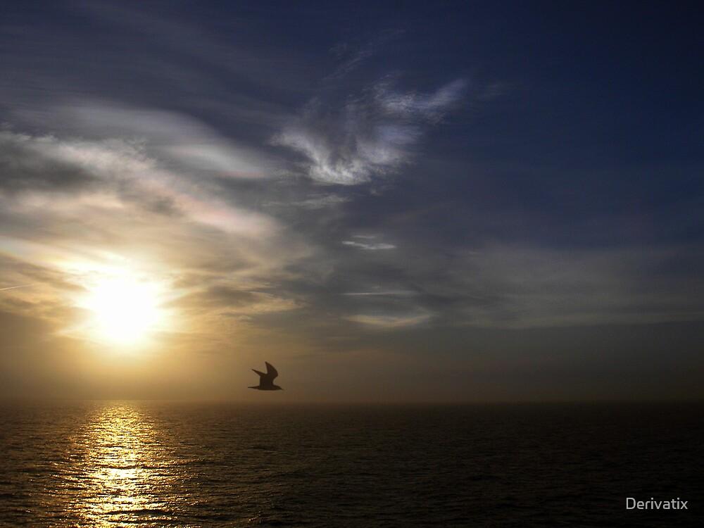 Sunset on sea by Derivatix