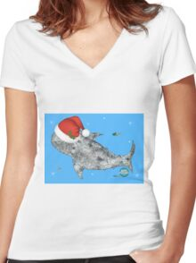 It'll be a Whale of a Christmas! Women's Fitted V-Neck T-Shirt
