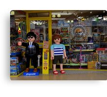 Playmobil Model Children outside a Toy Shop Canvas Print