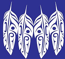 Four Feathers on Royal Blue by Lou-ann Neel