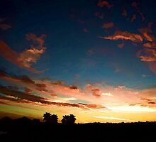 Silhouette Sunset from St Tim's ~ digital paint effect by Art4ThGlryOfGod