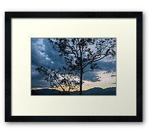 Tree silhouette at dusk - Pai Canyon, Thailand Framed Print