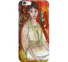 Lady In Front Of Decorated Screen iPhone Case/Skin
