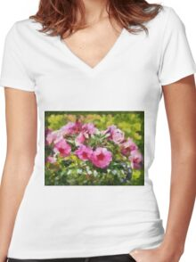 Bunch of blooming flowers Women's Fitted V-Neck T-Shirt