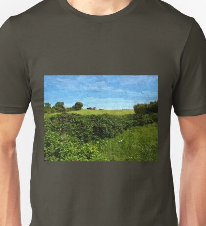 Beautiful green field and blue sky Unisex T-Shirt
