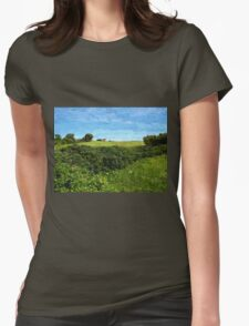 Beautiful green field and blue sky Womens Fitted T-Shirt
