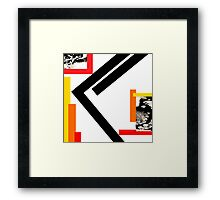 Kano Fire Contemporary Norse Rune Red White Black Orange Framed Print