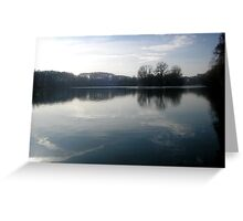 Tranquility Blue River Reflection Photography River Elbe Hamburg Greeting Card