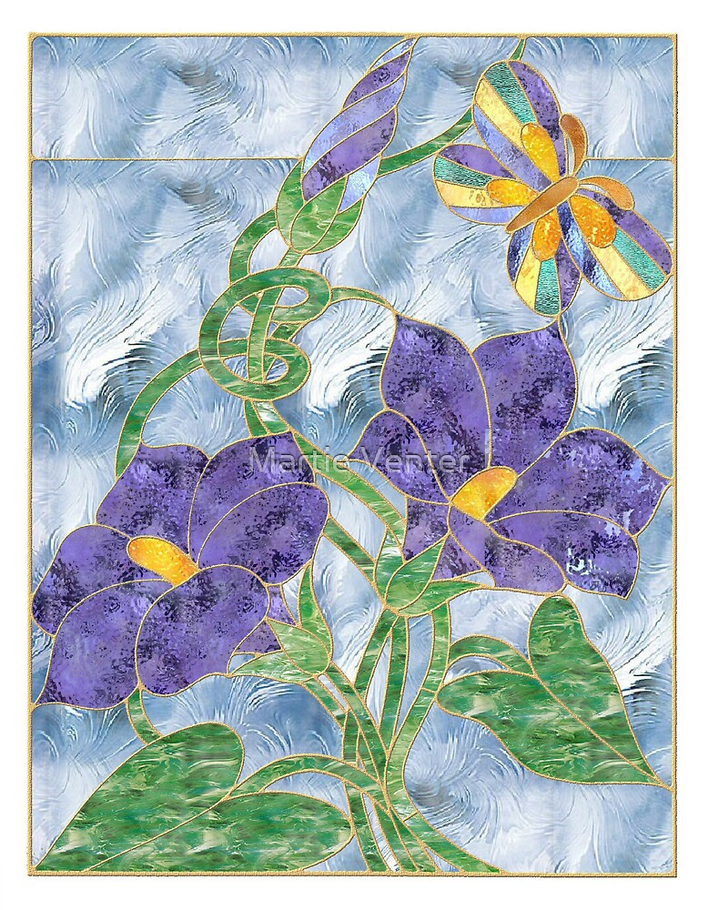 Stained Glass Morning Glories by Martie Venter
