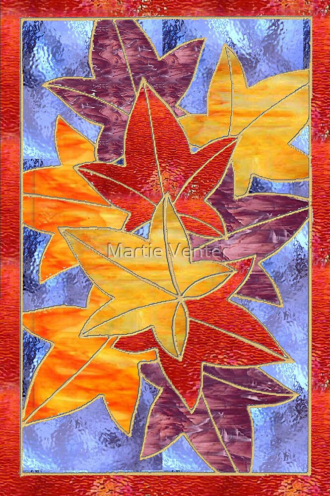 Stained Glass Autumn Leaves by Martie Venter