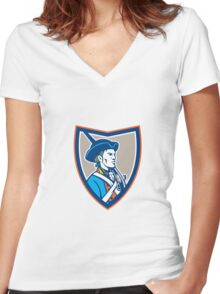 American Patriot Musket Side Shield Retro Women's Fitted V-Neck T-Shirt