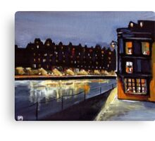 Riverside at night from my original acrylic painting) Canvas Print
