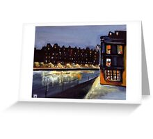 Riverside at night from my original acrylic painting) Greeting Card