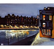 Riverside at night from my original acrylic painting) Photographic Print