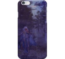 Woman in the foggy forest iPhone Case/Skin