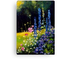 Delphiniums and cosmos  Canvas Print