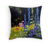 Delphiniums and cosmos  Throw Pillow