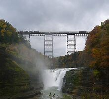 Train Bridge Over Waterfall by suebankert