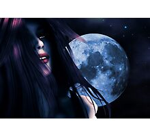 Woman and blue moon Photographic Print