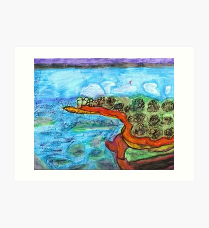 Water by Land Painting Pastel Art Print