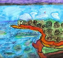 Water by Land Painting Pastel by karen66