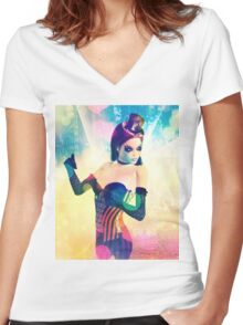 Woman on Glowing Background Women's Fitted V-Neck T-Shirt