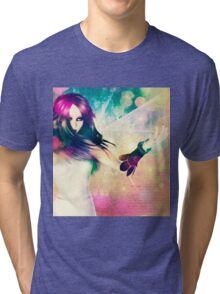 Woman on Glowing Background 2 Tri-blend T-Shirt