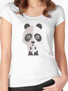 Funny cartoon panda Women's Fitted Scoop T-Shirt