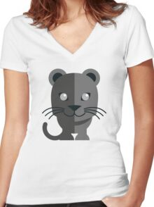 Cute black cartoon panther Women's Fitted V-Neck T-Shirt