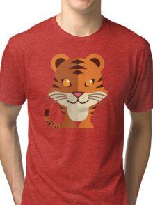 Smiling funny cartoon tiger Tri-blend T-Shirt
