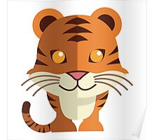 Smiling funny cartoon tiger Poster