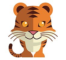 Smiling funny cartoon tiger Photographic Print