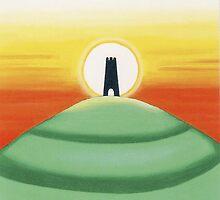 Backing image for the tarot cards - Glastonbury Tor by Lisa Tenzin-Dolma
