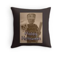 Happy Halloween Frankenstein's Monster Custom Minifig Throw Pillow