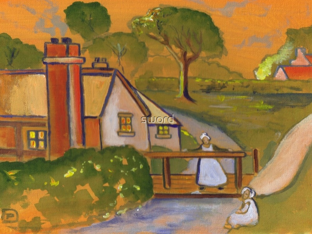 A country cottage (from my original acrylic painting) by sword
