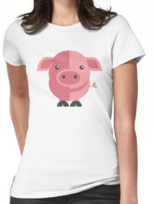 Funny pink cartoon pig Womens Fitted T-Shirt
