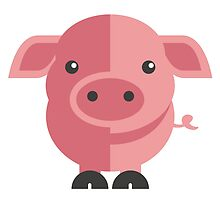 Funny pink cartoon pig by berlinrob