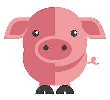 Funny pink cartoon pig by berlinrob