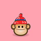 Cute Monkey wearing Beanie by Chillee