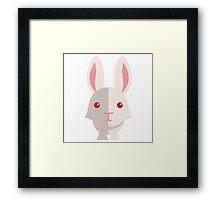 Funny white cartoon rabbit Framed Print