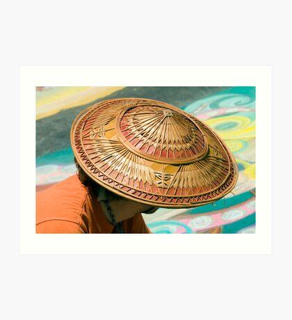Artist's Hat-An artist is working on a chalk painting at the Imadinari Street Painting Festival.  Santa Barbara, California Art Print