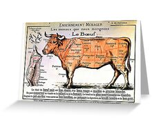 Beef - Diagram Depicting the Different Cuts of Meat Greeting Card