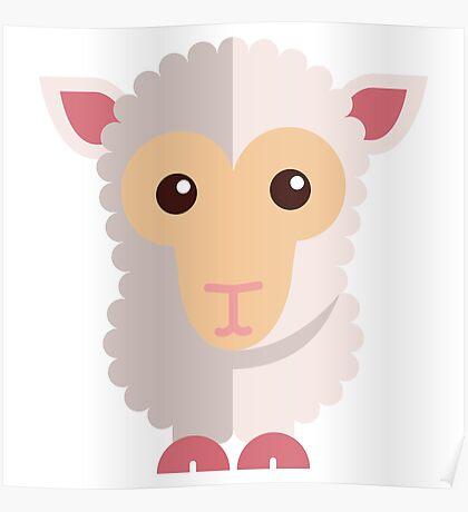 Cute little cartoon sheep Poster