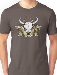 Bull Skull with Engraved Floral Detail - V1 T-Shirt