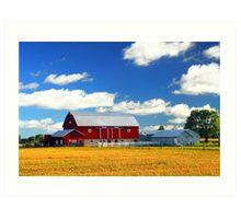 Landscape with red barn Art Print