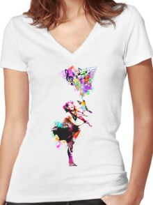 A Bird And The Violinist Women's Fitted V-Neck T-Shirt