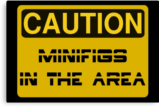 Caution Minifigs in the Area Sign by Customize My Minifig